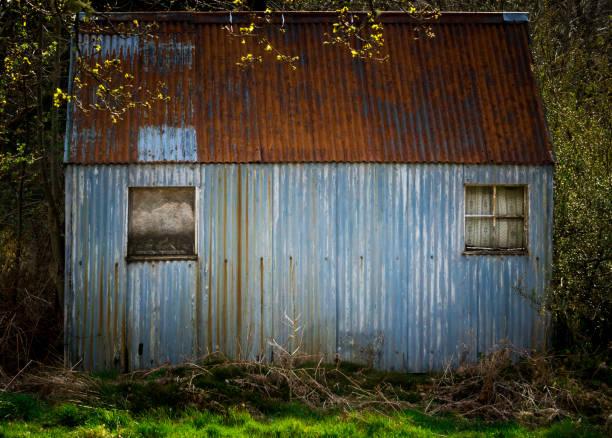 verlassenen zinn hütte in abgelegenen gegend - eisenmangel was tun stock-fotos und bilder