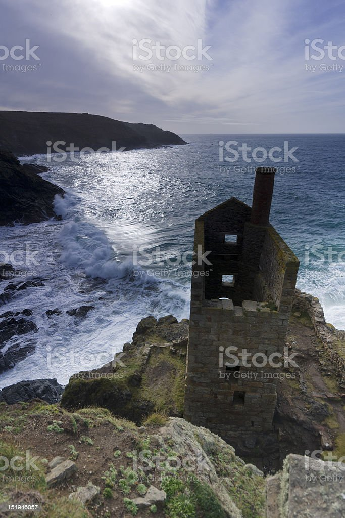 Abandoned tin mine at Botallack in Cornwall stock photo