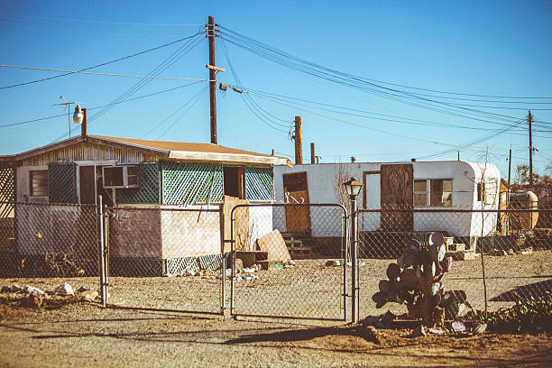 Abandoned town. Damaged and abandoned buildings in small town. trailer park stock pictures, royalty-free photos & images