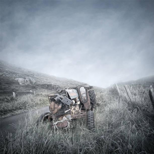 Abandoned Tractor Wreck stock photo