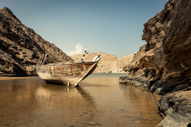 abandoned traditional dhow , oman stock photo