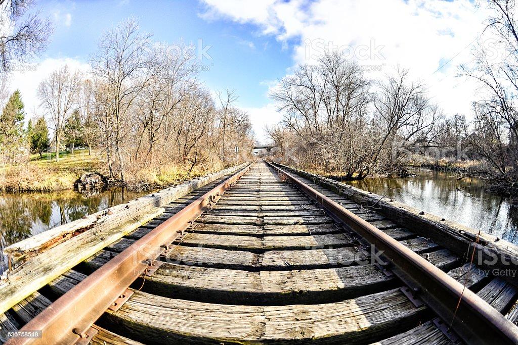 Abandoned Train Tracks Over Creek Fisheye Stock Photo