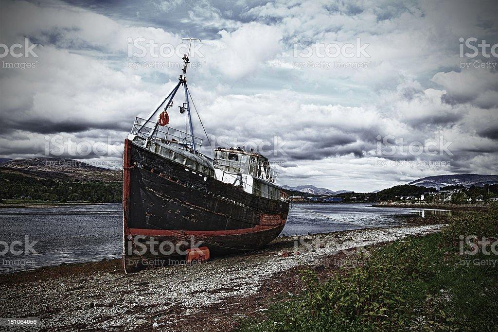 HDR abandoned trawler stock photo