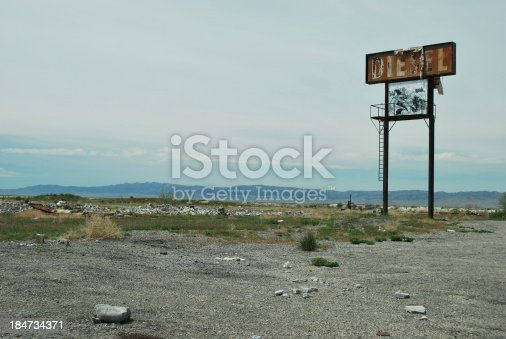 A sign that says diesel and has been vandalized is the only reminder that a truck stop once stood out here in the Utah desert near Interstate 80.
