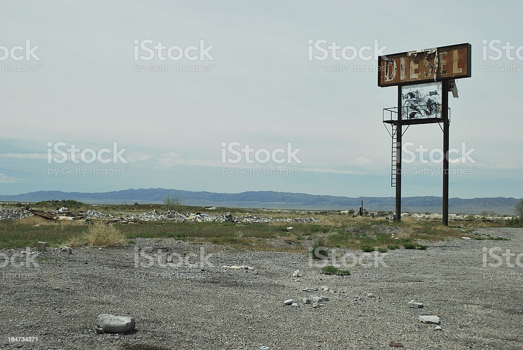 Abandoned Truck Stop with only sign left stock photo