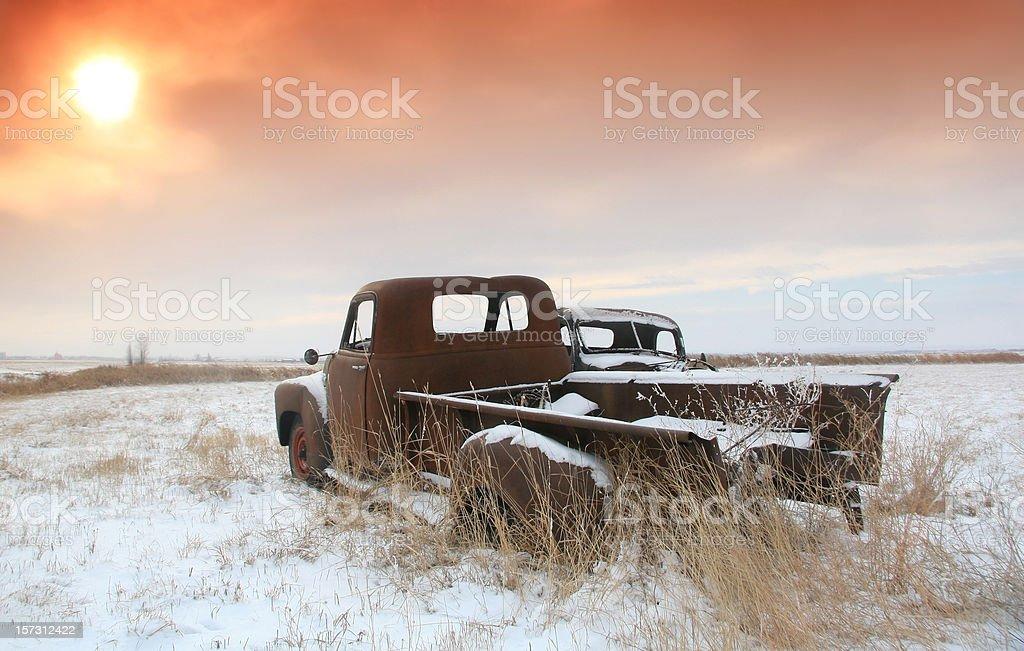 Abandoned Trucks on the Great Plains stock photo
