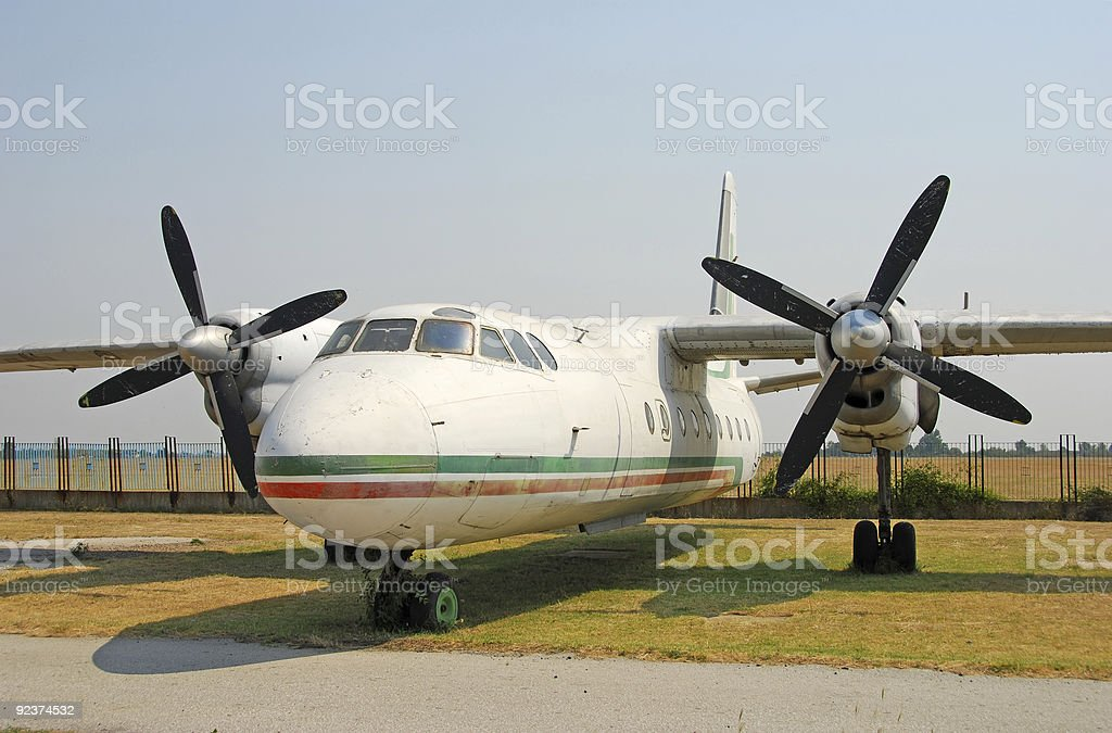 Abandoned turboprop airplane royalty-free stock photo