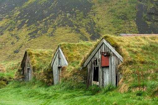 Abandoned turf houses in Nupsstadur, Iceland