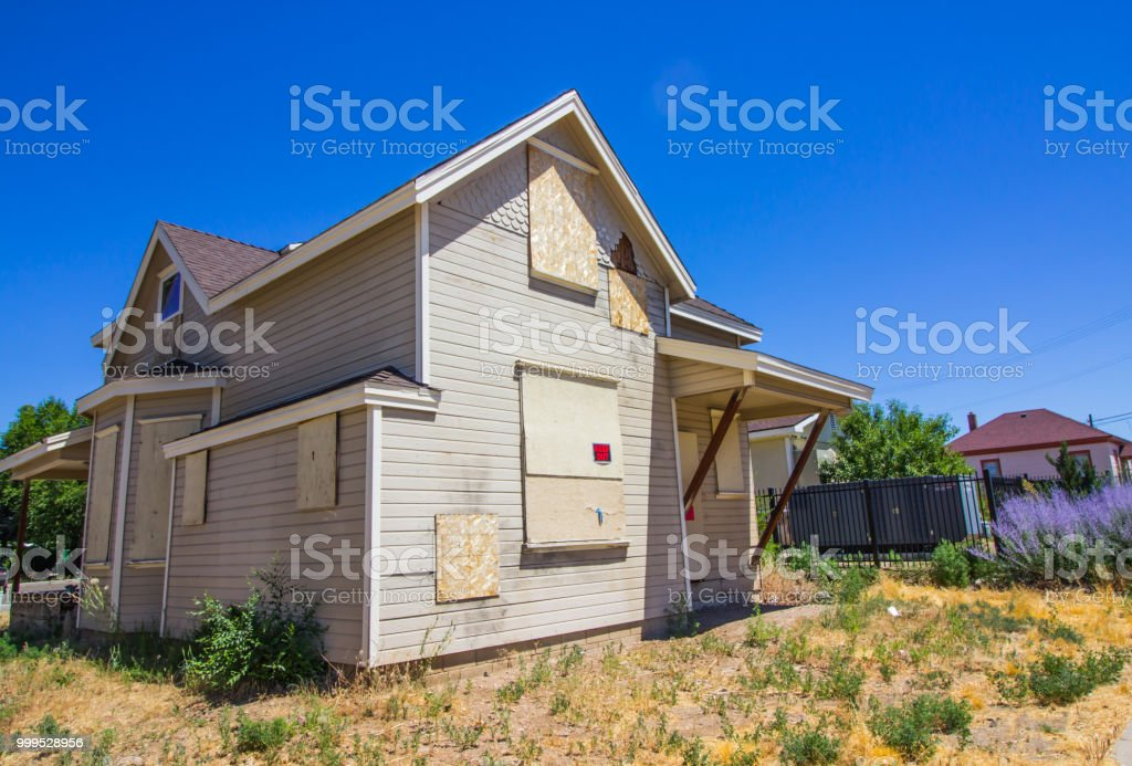 Abandoned Two Story Building stock photo