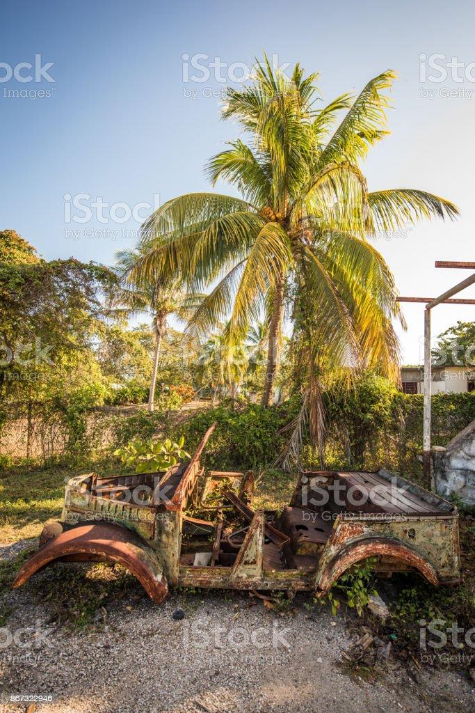 Abandoned veteran car, Cuba stock photo