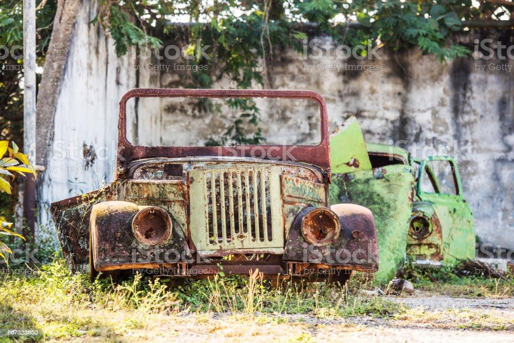 Abandoned veteran cars, Cuba stock photo