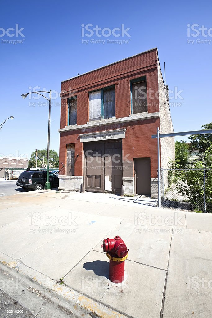 Abandoned Victorian Fire Station in Chicago royalty-free stock photo