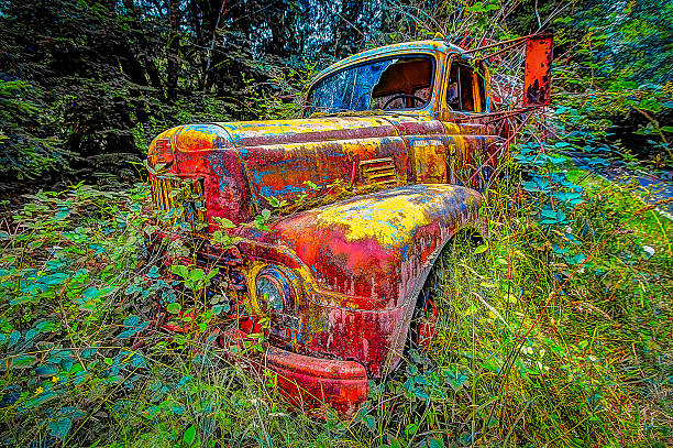 Abandoned Vintage Antique Fire Truck Blackberries Oregon Forest Northwest HDR stock photo