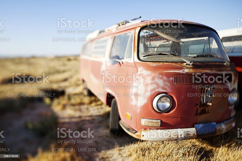 Abandoned Volkswagen bus stock photo