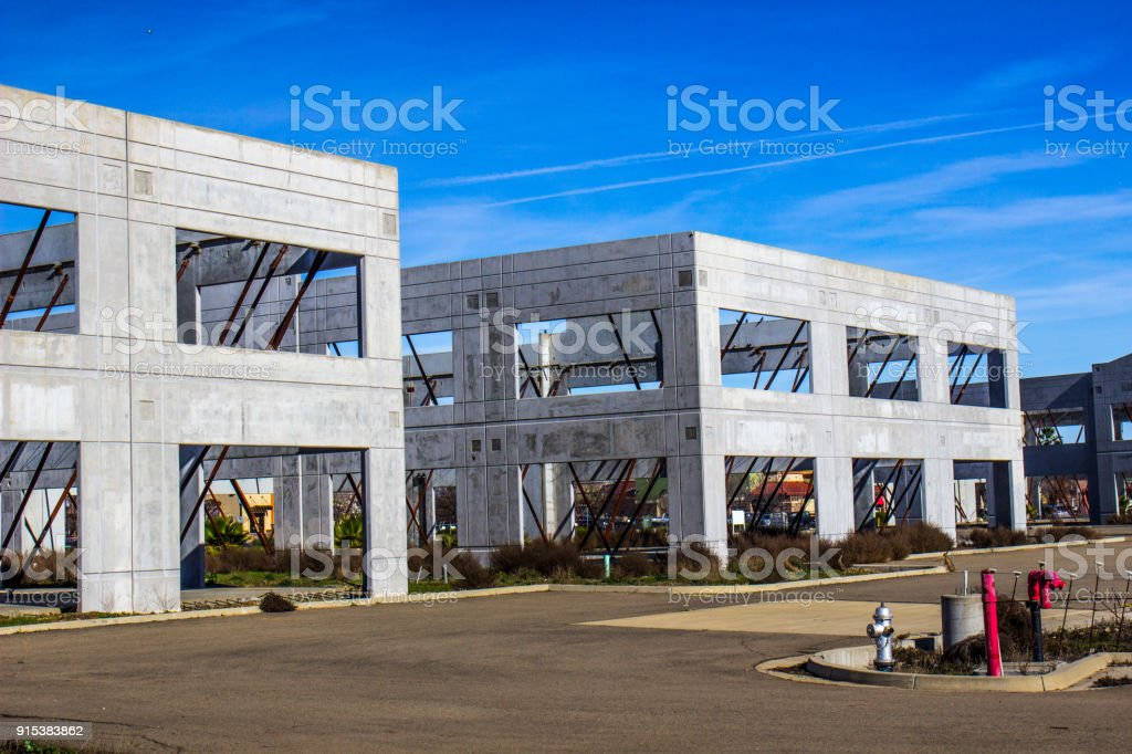 Abandoned Walls And Braces For Office Building stock photo