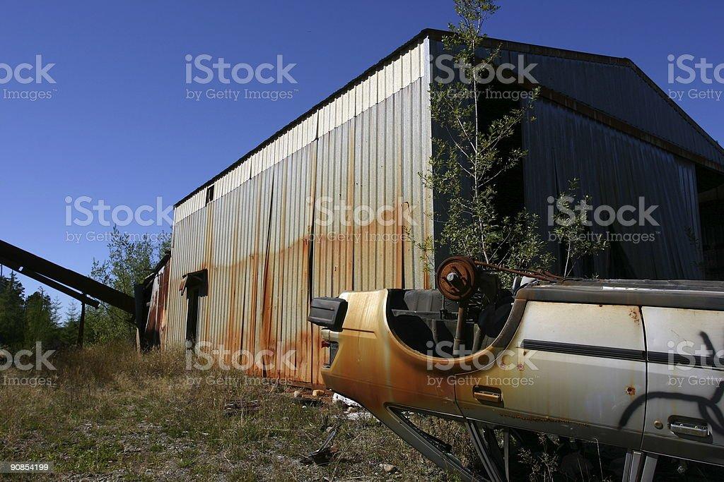 Abandoned warehouse and car. royalty-free stock photo