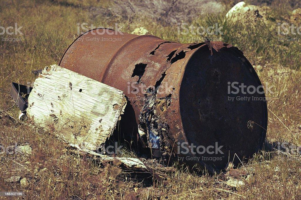 Abandoned Waste Drum royalty-free stock photo