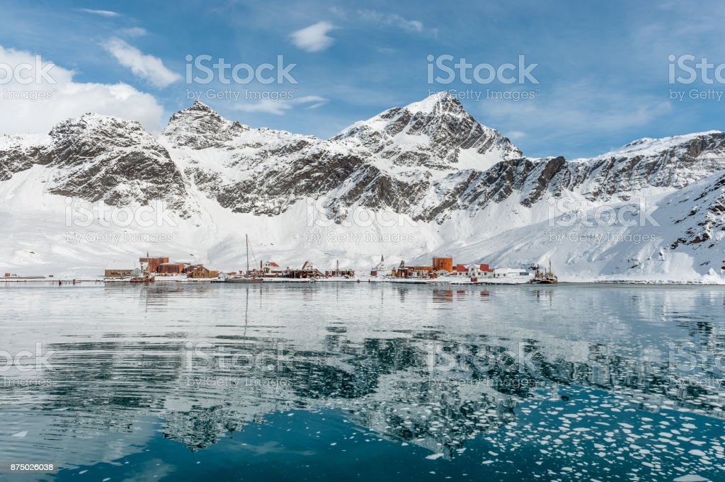 Abandoned whaling station of Grytviken in South Georgia stock photo