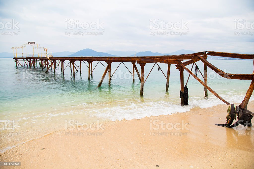 Abandoned, wharf,Beach, Sea, Vibrant Color, stock photo
