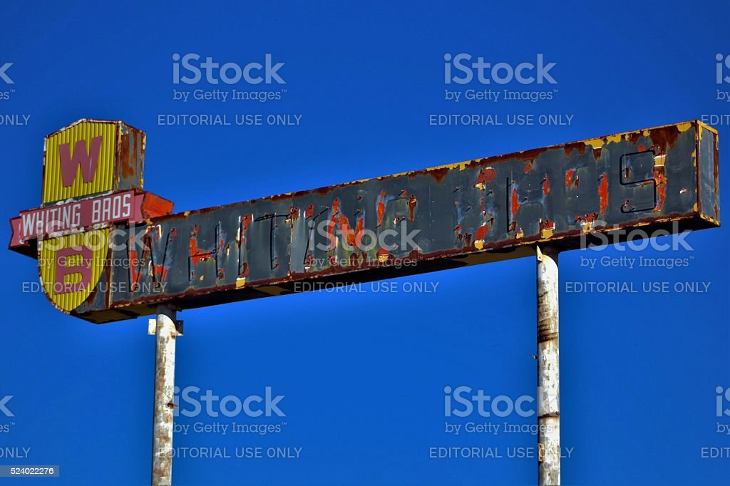 Abandoned Whiting Bros. Sign stock photo