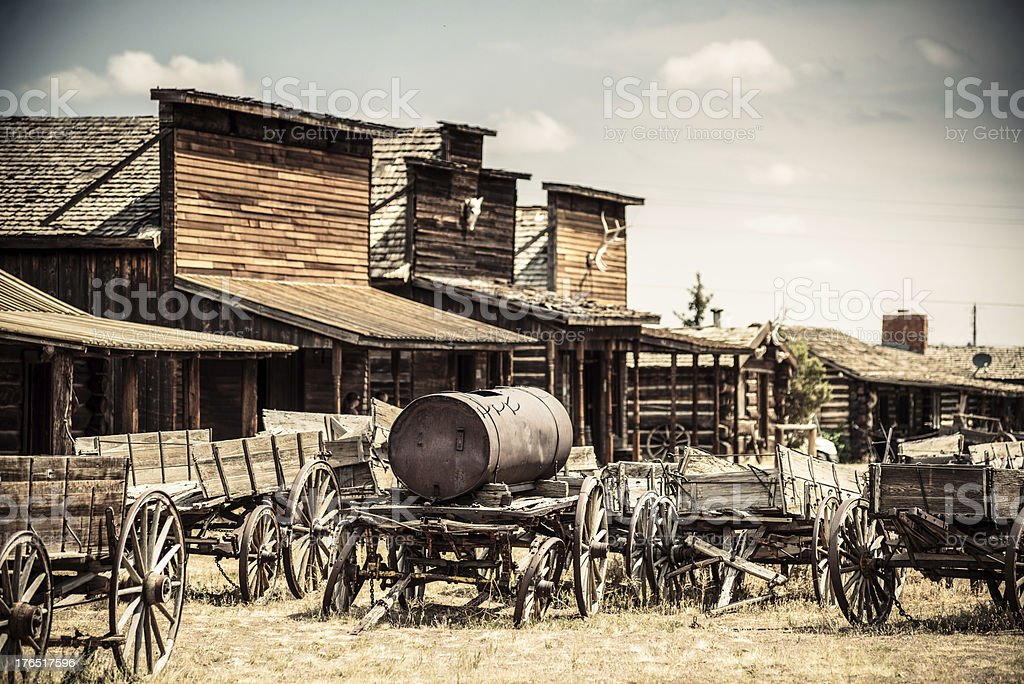 Abandoned Wild West town in Wyoming, USA stock photo