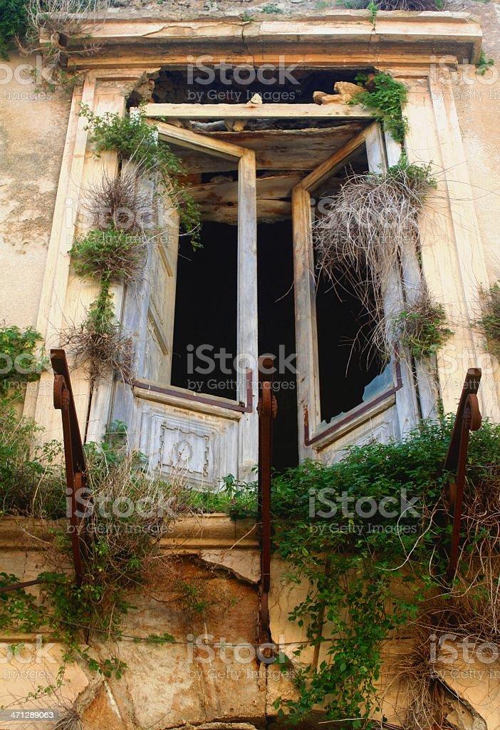 Abandoned window stock photo