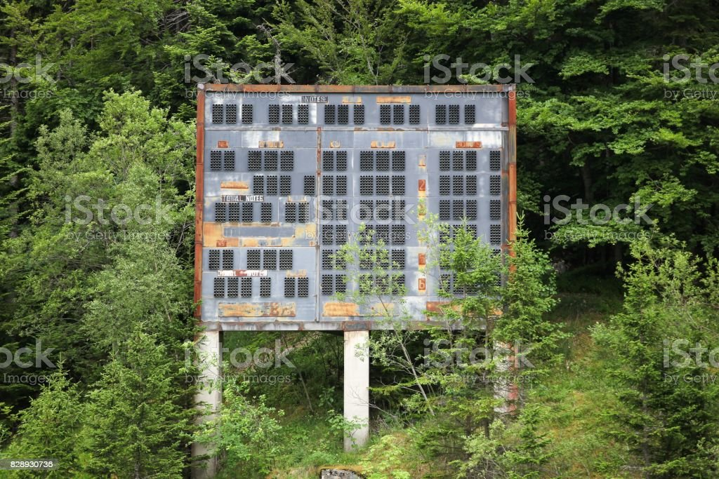 Abandoned winter olympic site at the ski jumping large hill in Saint-Nizier du Moucherotte, France stock photo