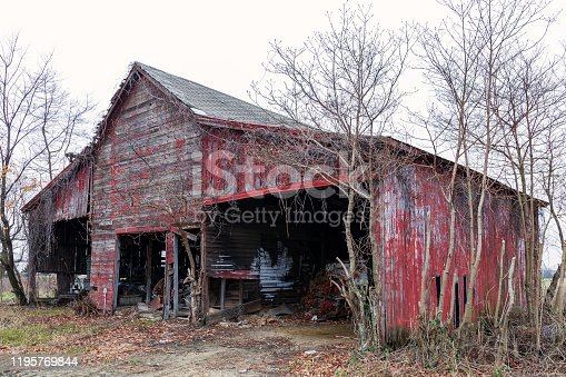 Abandoned Wooden Barn - seems about ready to fall - but it's still standing for another Winter