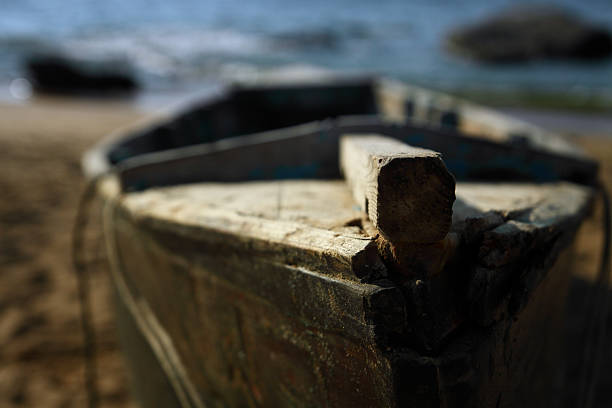 Abandoned wooden boat stock photo