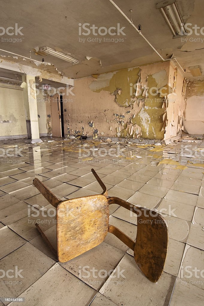 Abandoned wooden chair stock photo