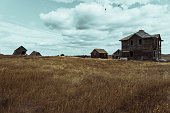 Abandoned wooden houses on the prairie, saskatchewan, canada.