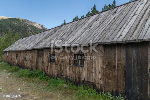 Abandoned old wooden building once lodging for miners
