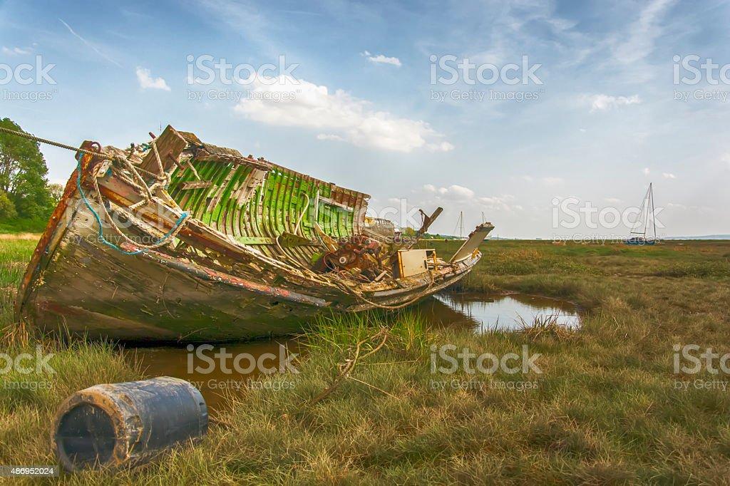 Abandoned woodern boat stock photo