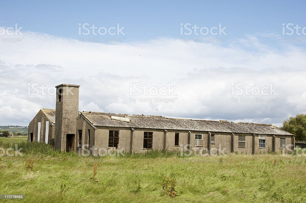 Abandoned WW2 airfield huts royalty-free stock photo