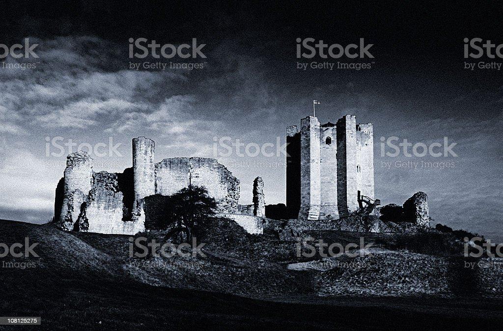 AbandonedConisborough Castle, Black and White stock photo