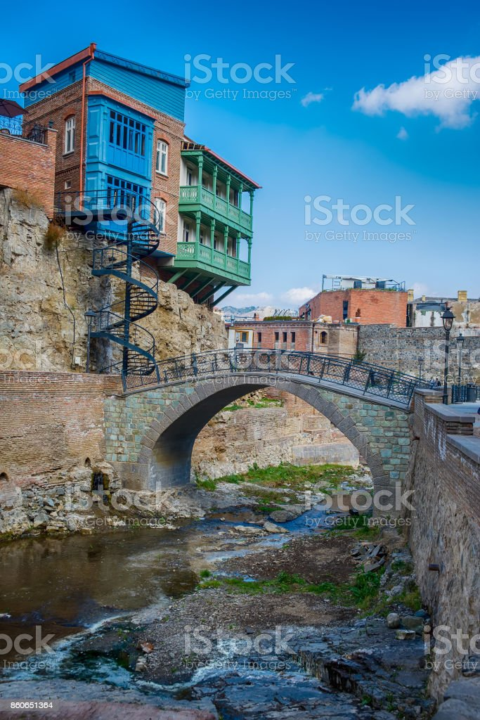 Abanotubani  is the ancient district of Tbilisi stock photo