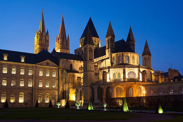 l'abbaye-aux-hommes, church of saint etienne, caen - caen stock pictures, royalty-free photos & images