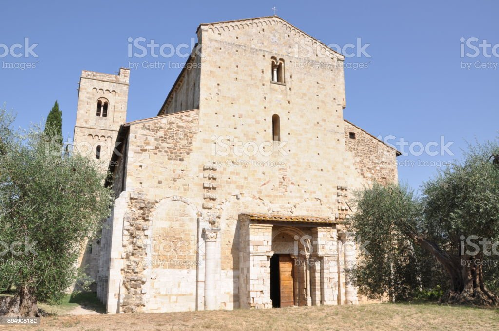 Abbazia di Sant Antimo, Benedictine monastery Montalcino, Tuscany stock photo