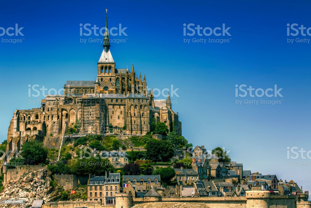 Abbey and Village of Saint Michael's Mount, Normandy, France stock photo
