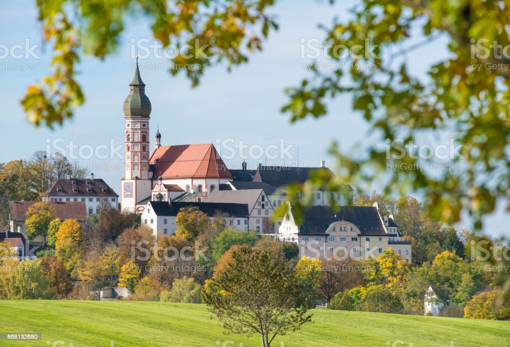 abbey Andechs with church tower in Bavaria, Germany stock photo