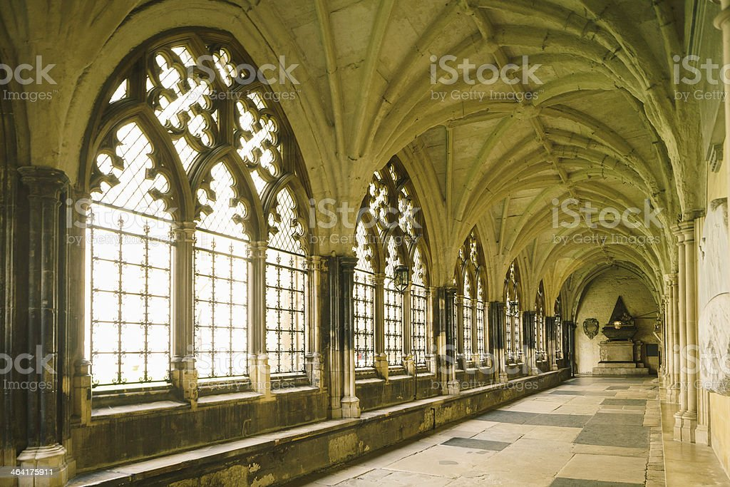 Abbey cloister gothic corridor stock photo
