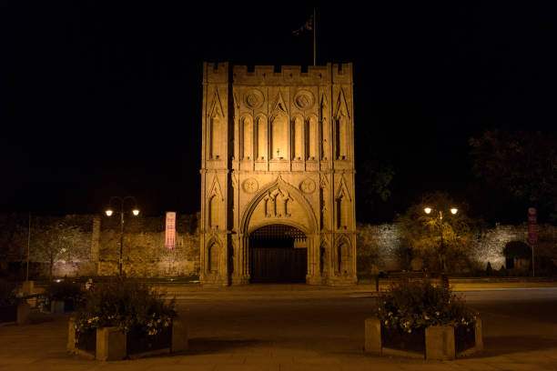 Abbey Gate at night in Bury St Edmunds stock photo