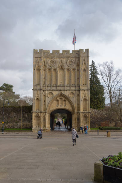 Abbey Gate on Angel hill stock photo