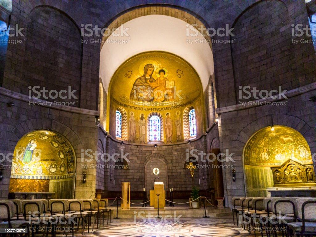 Abadía de la Dormición (iglesia del Cenáculo) en el Monte Sión, Jerusalén, Israel. - foto de stock