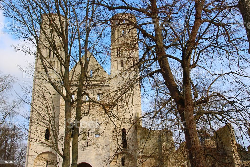 Abbey of Jumieges in Normandie with trees - France stock photo