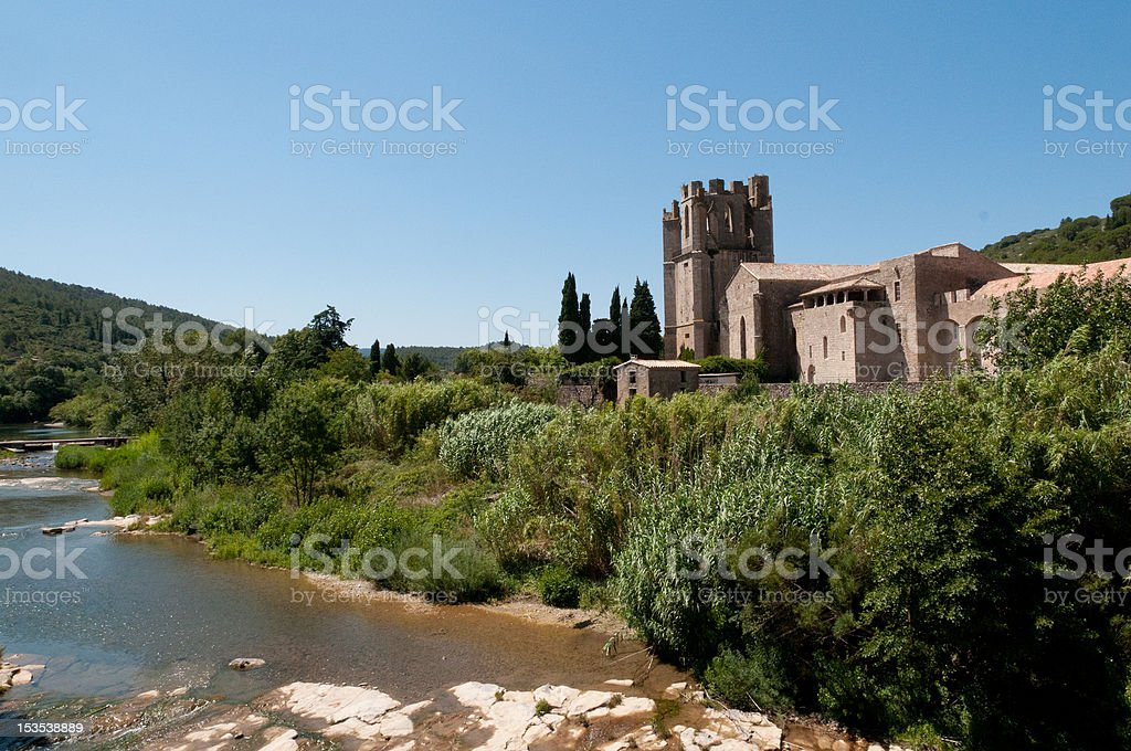 Abbey of Lagrasse, Aude, France stock photo