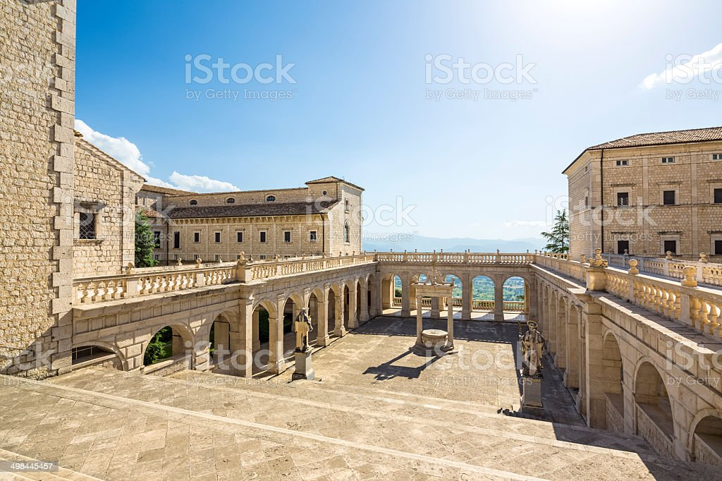 Abbey of Montecassino courtyard - Cassino in Lazio, Italy royalty-free stock photo