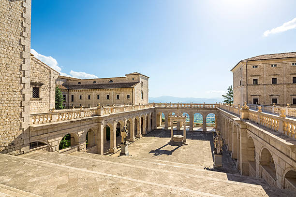 Abbey of Montecassino courtyard - Cassino in Lazio, Italy Abbey of Montecassino near Cassino in Lazio, Italy abbey monastery stock pictures, royalty-free photos & images