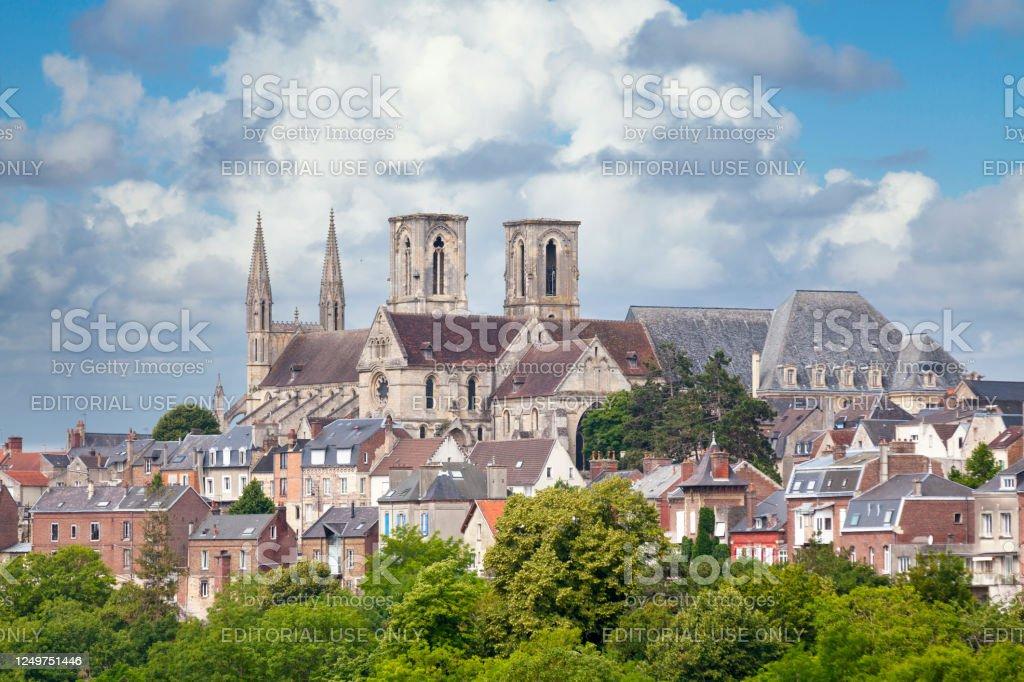 Abbey of Saint-Martin de Laon - Royalty-free Aerial View Stock Photo