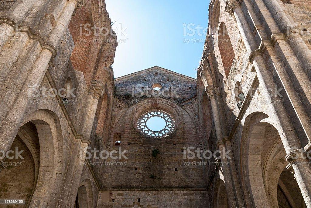 Abbey of San Galgano, Tuscany. stock photo